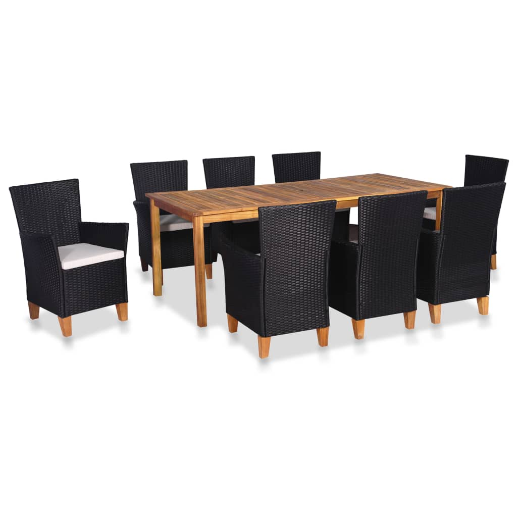 9 Piece Outdoor Dining Set Poly Rattan Black and Brown 1