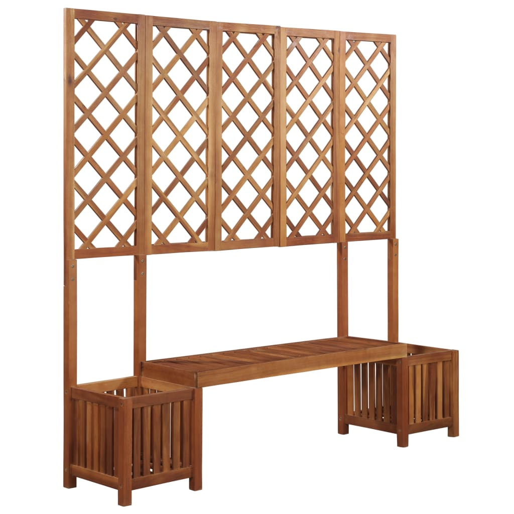 Garden Planter with Bench and Trellis Solid Acacia Wood 1