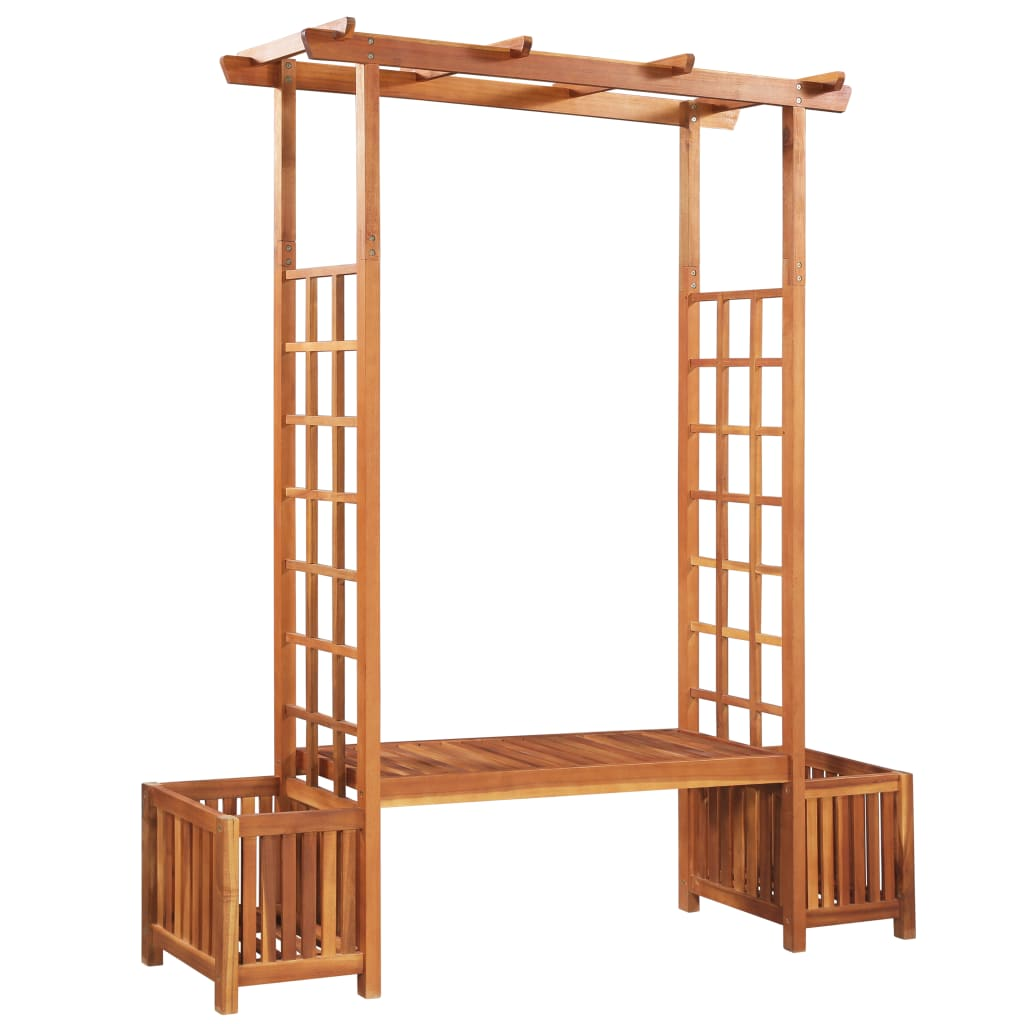 Garden Pergola with Bench and Planter Solid Acacia Wood 1