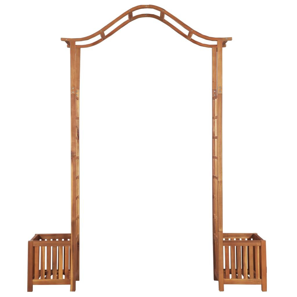 Garden Arch with Planter Solid Acacia Wood 180x40x218 cm 4