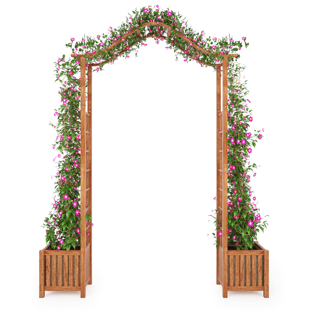 Garden Arch with Planter Solid Acacia Wood 180x40x218 cm