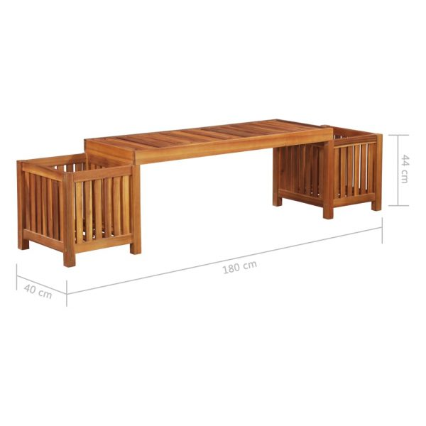 Garden Planter Bench Solid Acacia Wood 180x40x44 cm 5