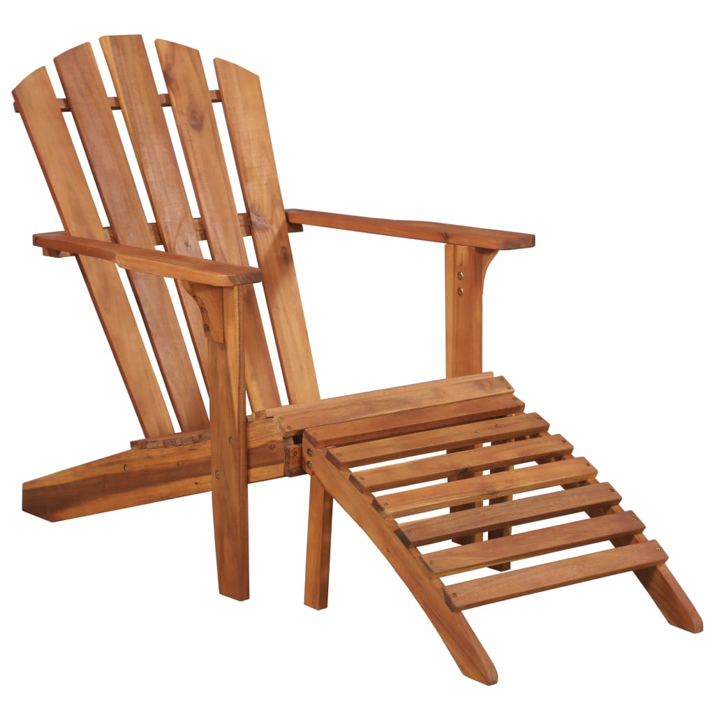Garden Adirondack Chair with Footrest Solid Acacia Wood 1