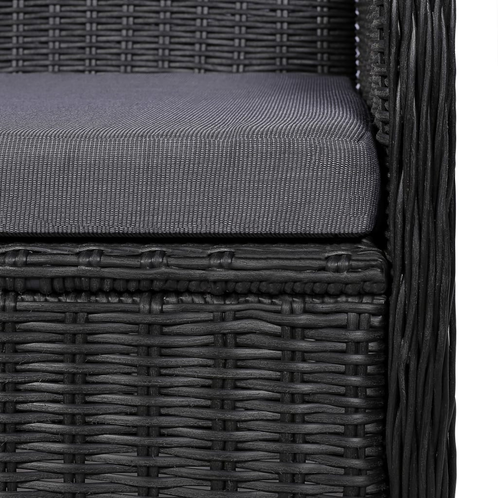 Outdoor Chairs with Cushions 2 pcs Poly Rattan Black 2
