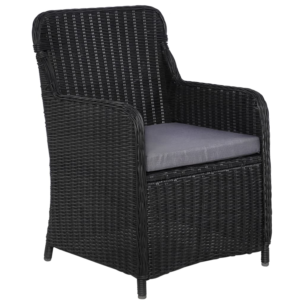 Outdoor Chairs with Cushions 2 pcs Poly Rattan Black 3