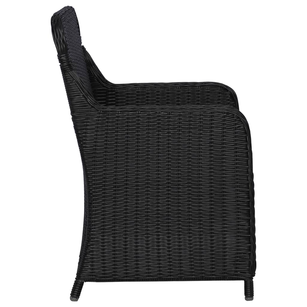 Outdoor Chairs with Cushions 2 pcs Poly Rattan Black 5