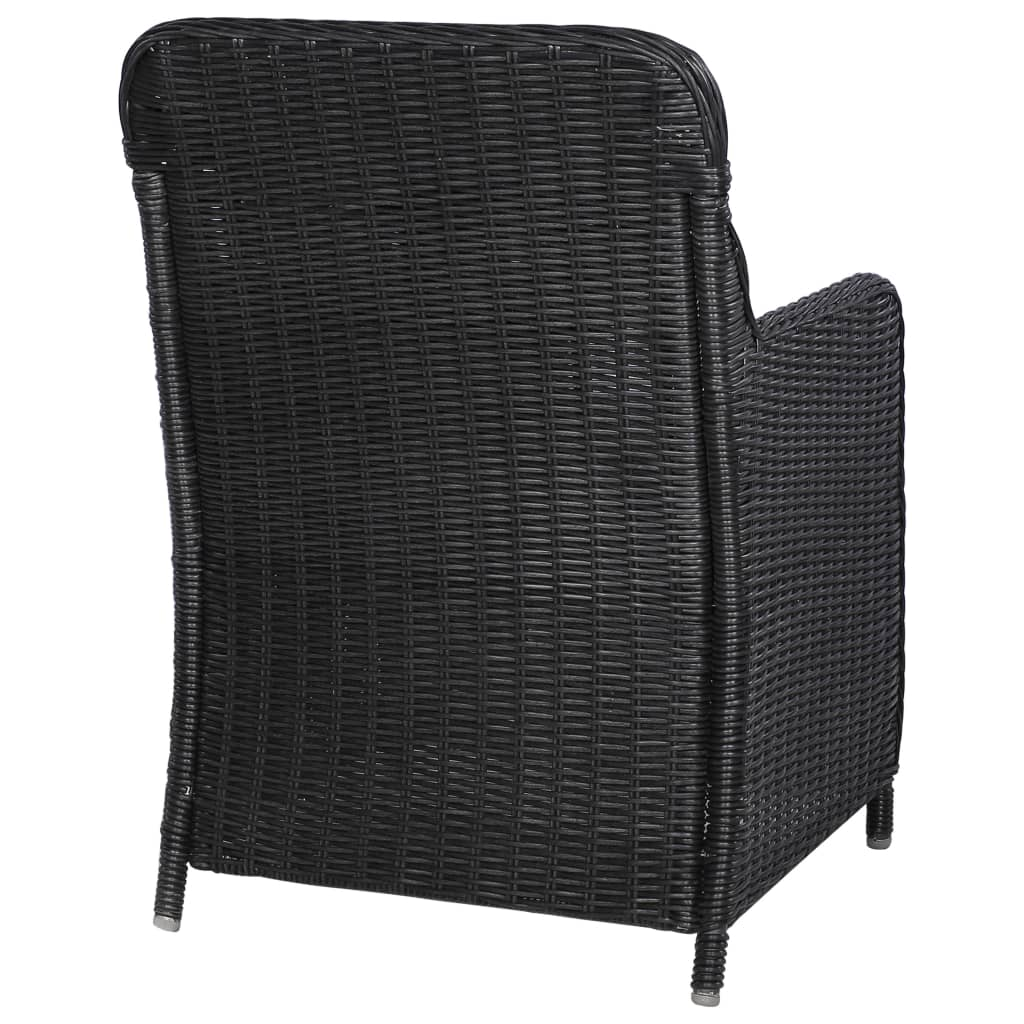 Outdoor Chairs with Cushions 2 pcs Poly Rattan Black 6