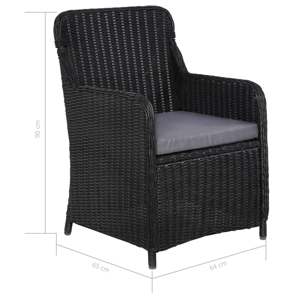 Outdoor Chairs with Cushions 2 pcs Poly Rattan Black 7