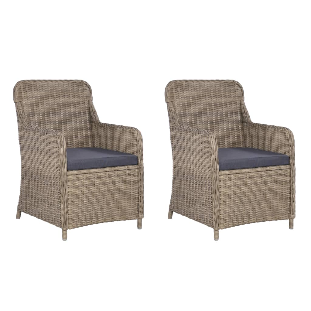 Outdoor Chairs with Cushions 2 pcs Poly Rattan Brown 1