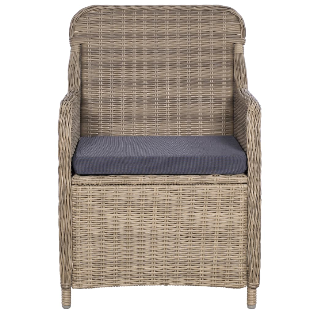 Outdoor Chairs with Cushions 2 pcs Poly Rattan Brown 3