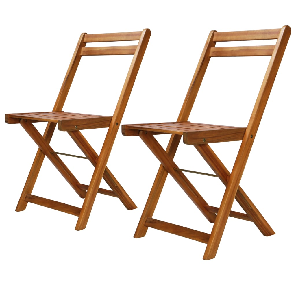 Outdoor Bistro Chairs 2 pcs Solid Acacia Wood 1