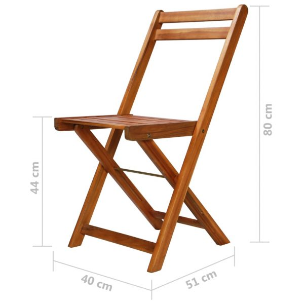 Outdoor Bistro Chairs 2 pcs Solid Acacia Wood 9