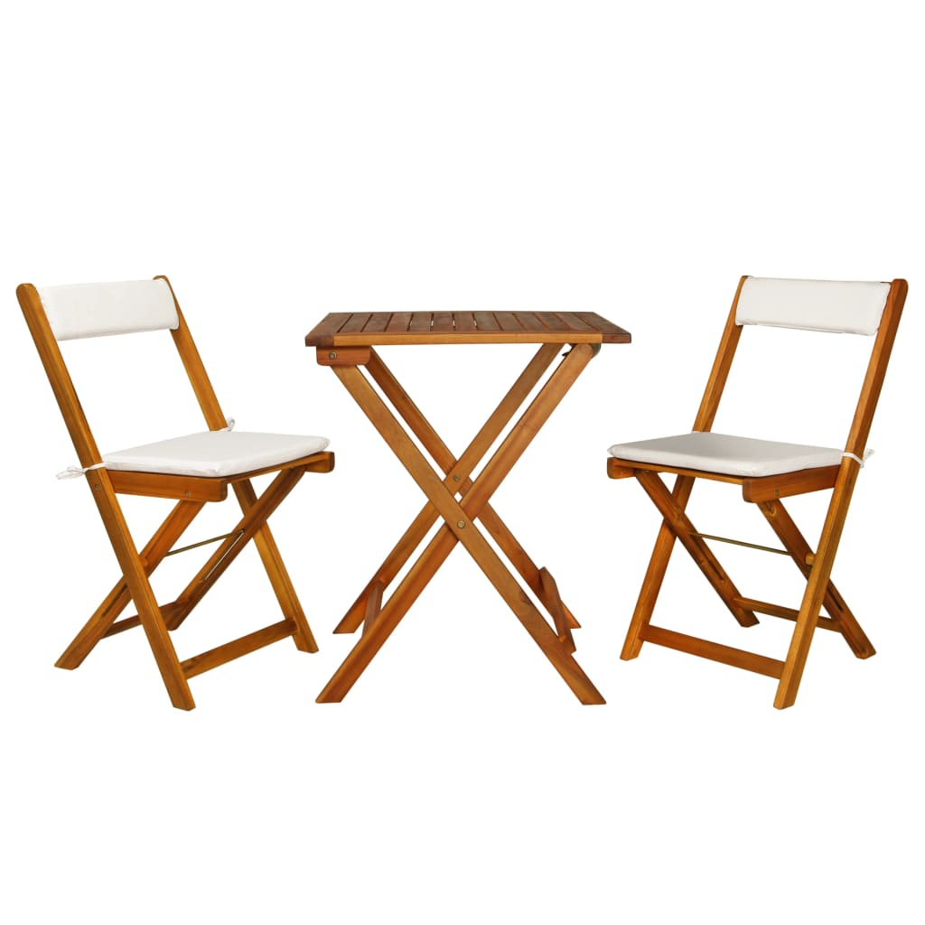 3 Piece Folding Bistro Set with Cushions Solid Acacia Wood