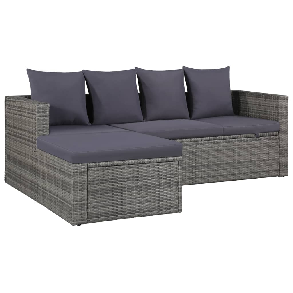 4 Piece Garden Lounge Set with Cushions Poly Rattan Grey 3