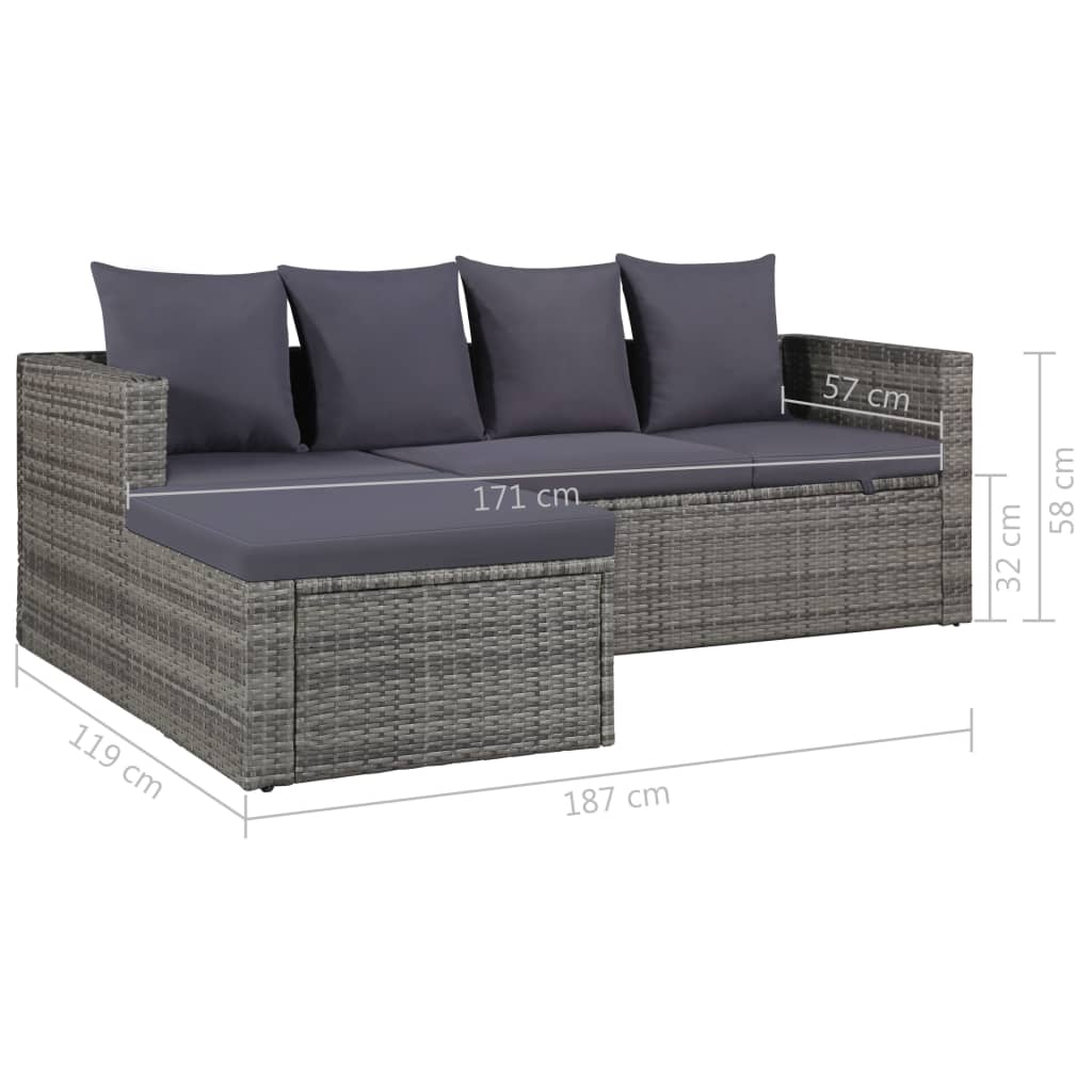 4 Piece Garden Lounge Set with Cushions Poly Rattan Grey 9