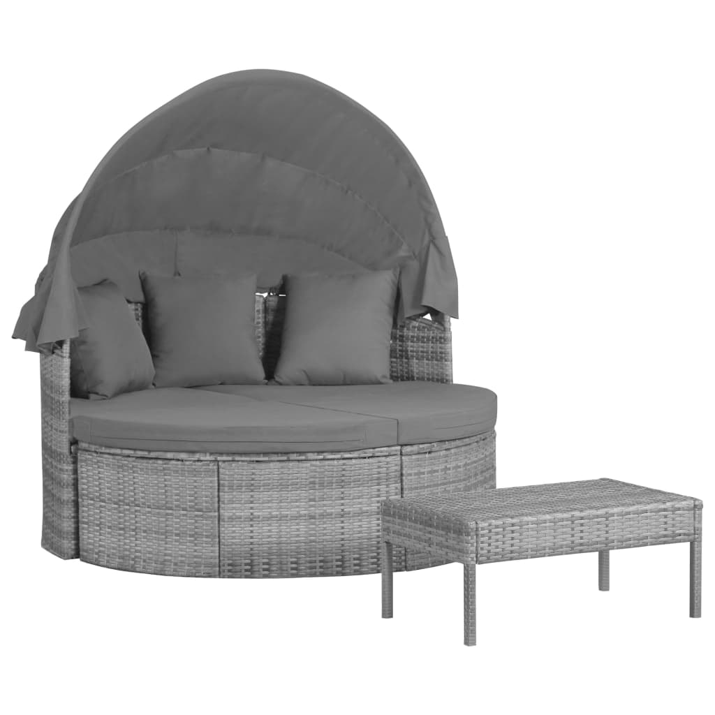 3 Piece Garden Lounge Set with Cushions & Pillows Poly Rattan Grey 1