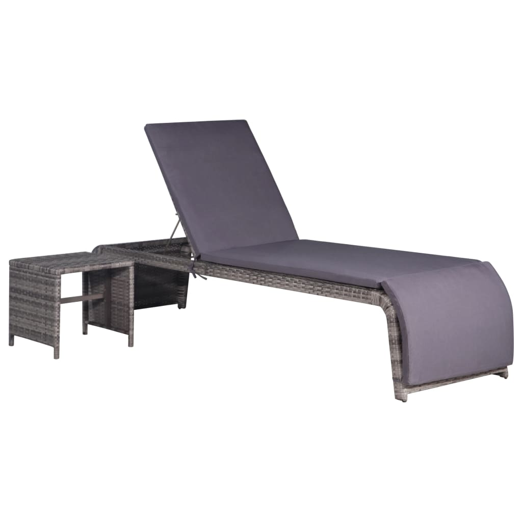 Sun Lounger with Table Poly Rattan Grey 1
