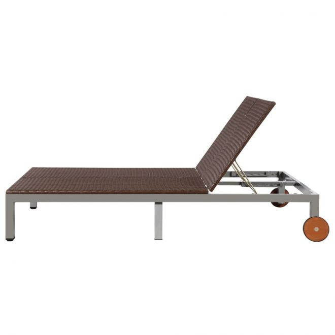 Double Sun Lounger with Wheels Poly Rattan Brown 4