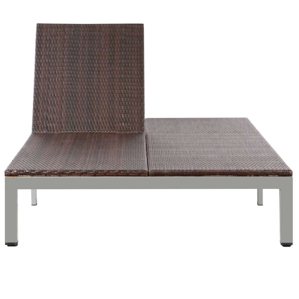 Double Sun Lounger with Wheels Poly Rattan Brown 5