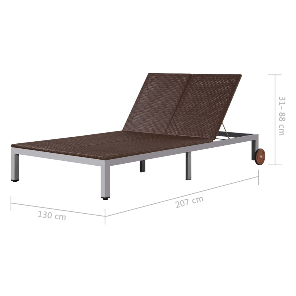 Double Sun Lounger with Wheels Poly Rattan Brown 7