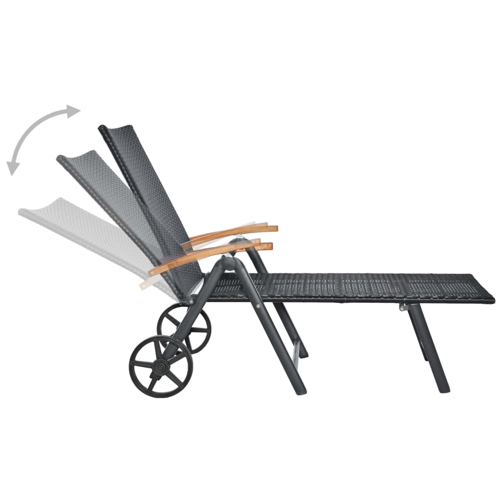 Sun Lounger with Wheels Poly Rattan Black 2
