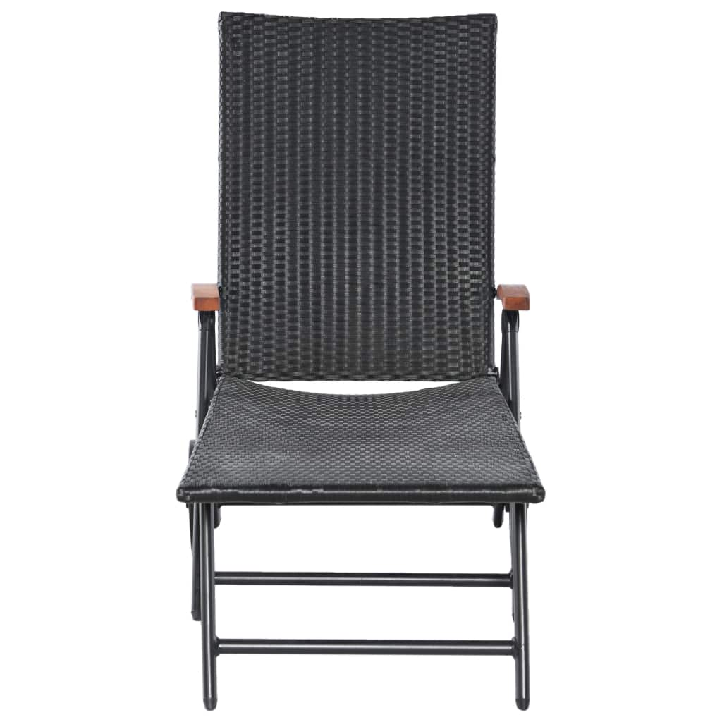 Sun Lounger with Wheels Poly Rattan Black 3