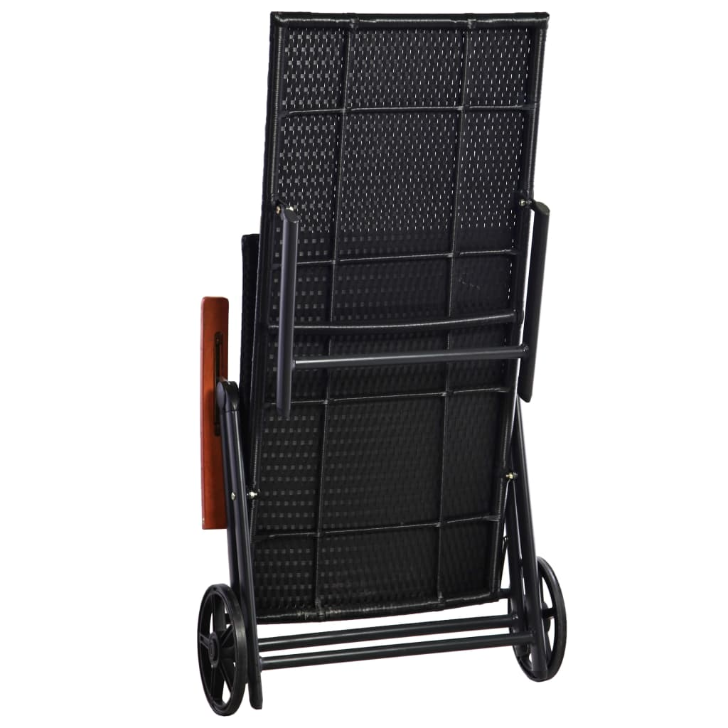 Sun Lounger with Wheels Poly Rattan Black 4
