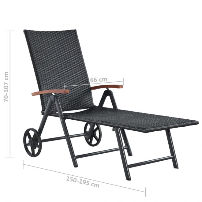 Sun Lounger with Wheels Poly Rattan Black 6