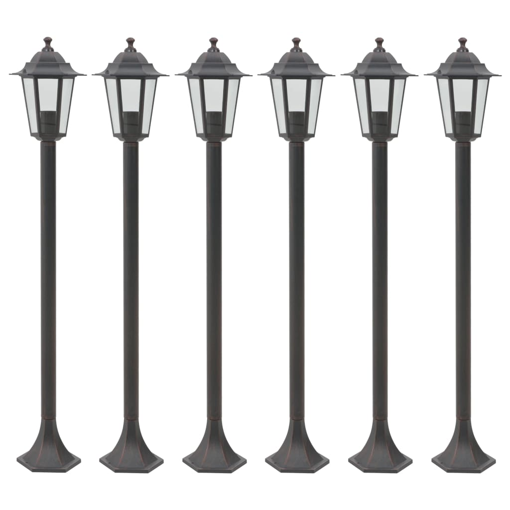 Garden Post Lights 6 pcs E27 110 cm Aluminium Bronze