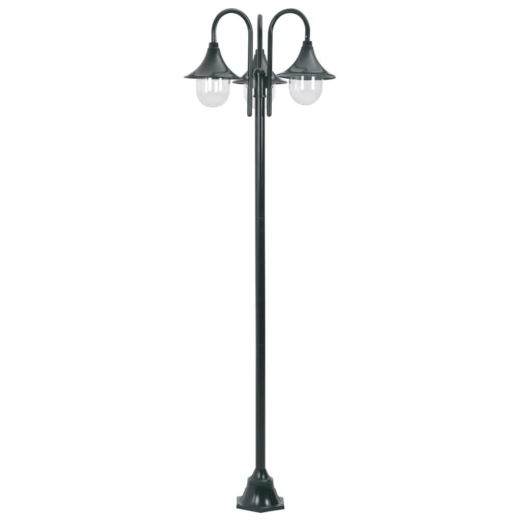 Garden Post Light E27 220 cm Aluminium 3-Lantern Dark Green 2