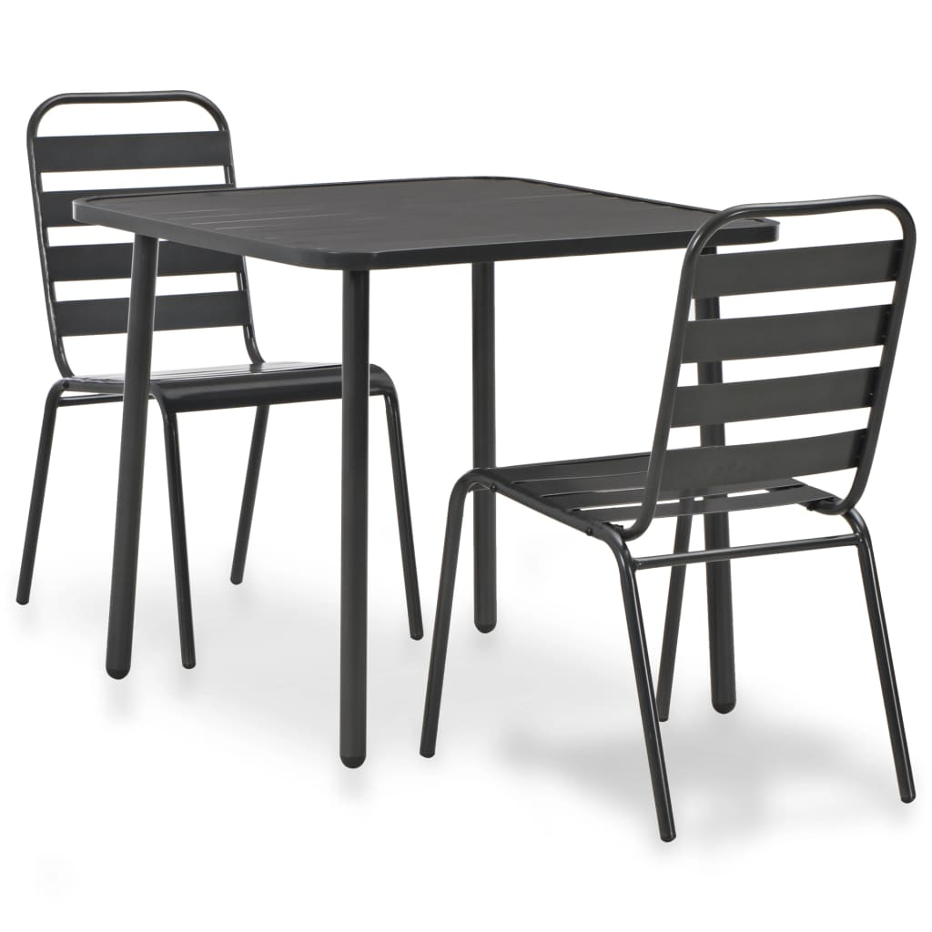 3 Piece Bistro Set Steel Dark Grey