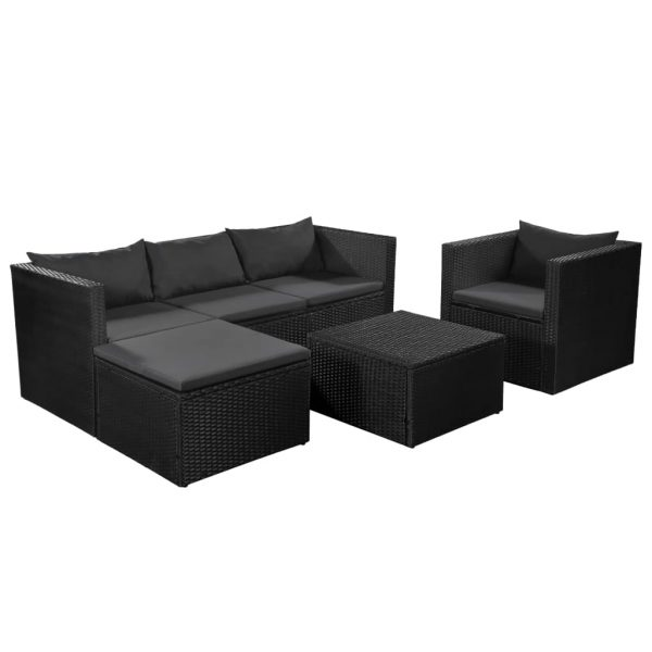 4 Piece Garden Lounge Set Poly Rattan Black and Grey 1
