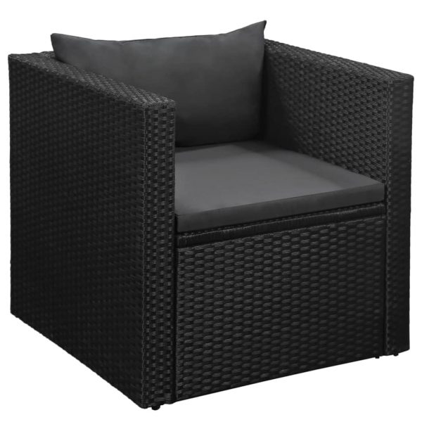 4 Piece Garden Lounge Set Poly Rattan Black and Grey 4