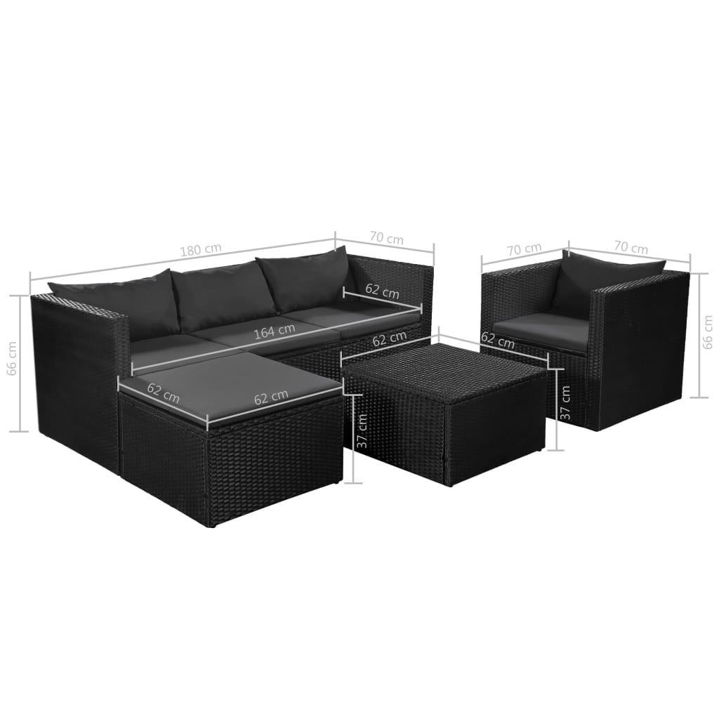 4 Piece Garden Lounge Set Poly Rattan Black and Grey 7
