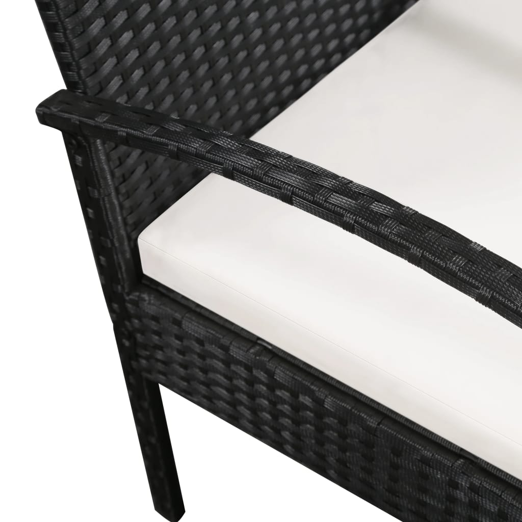 3 Seater Garden Sofa with Cushions Black Poly Rattan 3