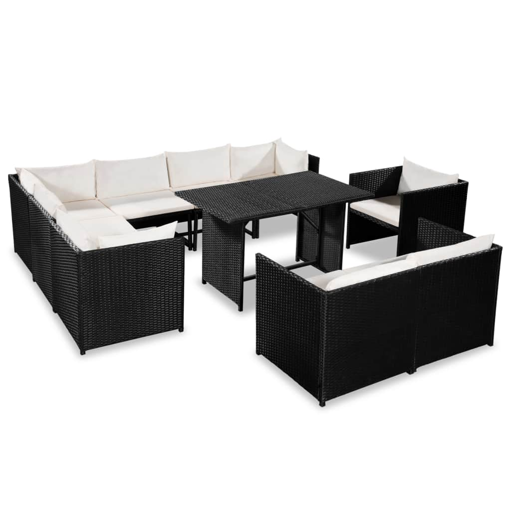 9 Piece Garden Lounge Set with Cushions Poly Rattan Black 1