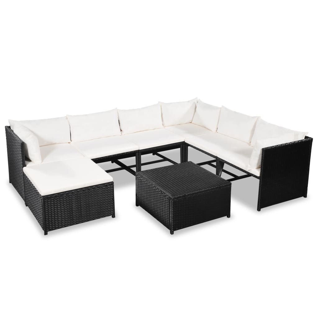 8 Piece Garden Lounge Set with Cushions Poly Rattan Black 1