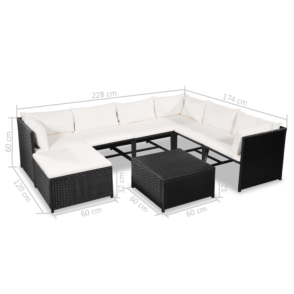 8 Piece Garden Lounge Set with Cushions Poly Rattan Black 6