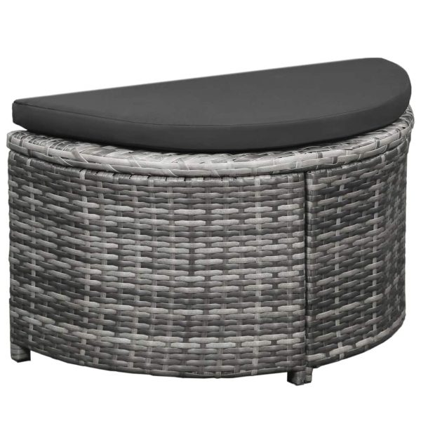 12 Piece Garden Lounge Set with Cushions Poly Rattan Grey 3