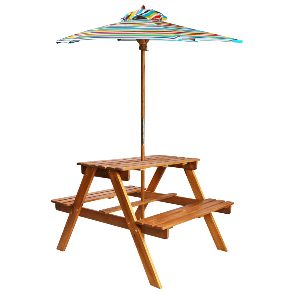 Kids Picnic Table with Parasol 79x90x60 cm Solid Acacia Wood 1