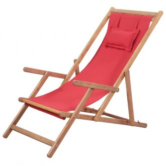 Folding Beach Chair Fabric and Wooden Frame Red 1