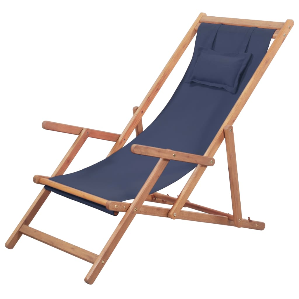 Folding Beach Chair Fabric and Wooden Frame Blue 1