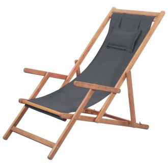 Folding Beach Chair Fabric and Wooden Frame Grey 1