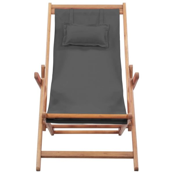 Folding Beach Chair Fabric and Wooden Frame Grey 4