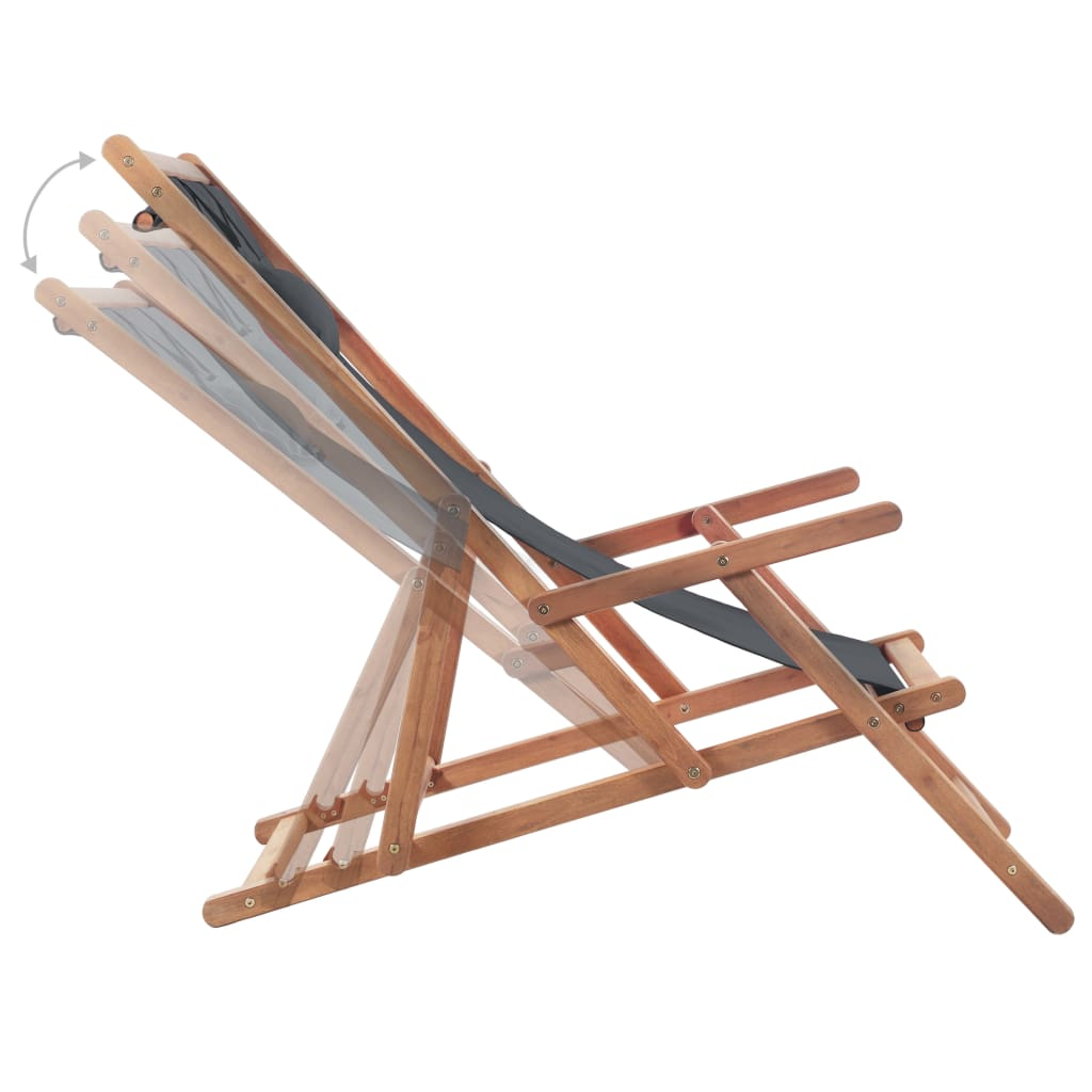 Folding Beach Chair Fabric and Wooden Frame Grey 5