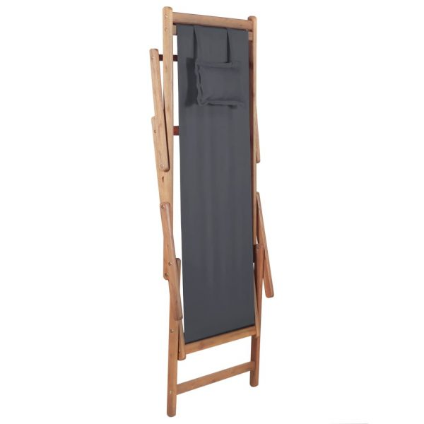 Folding Beach Chair Fabric and Wooden Frame Grey 6