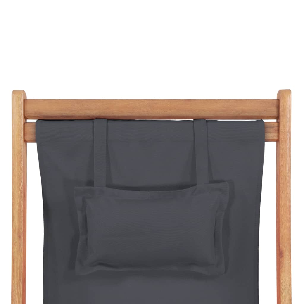 Folding Beach Chair Fabric and Wooden Frame Grey 7