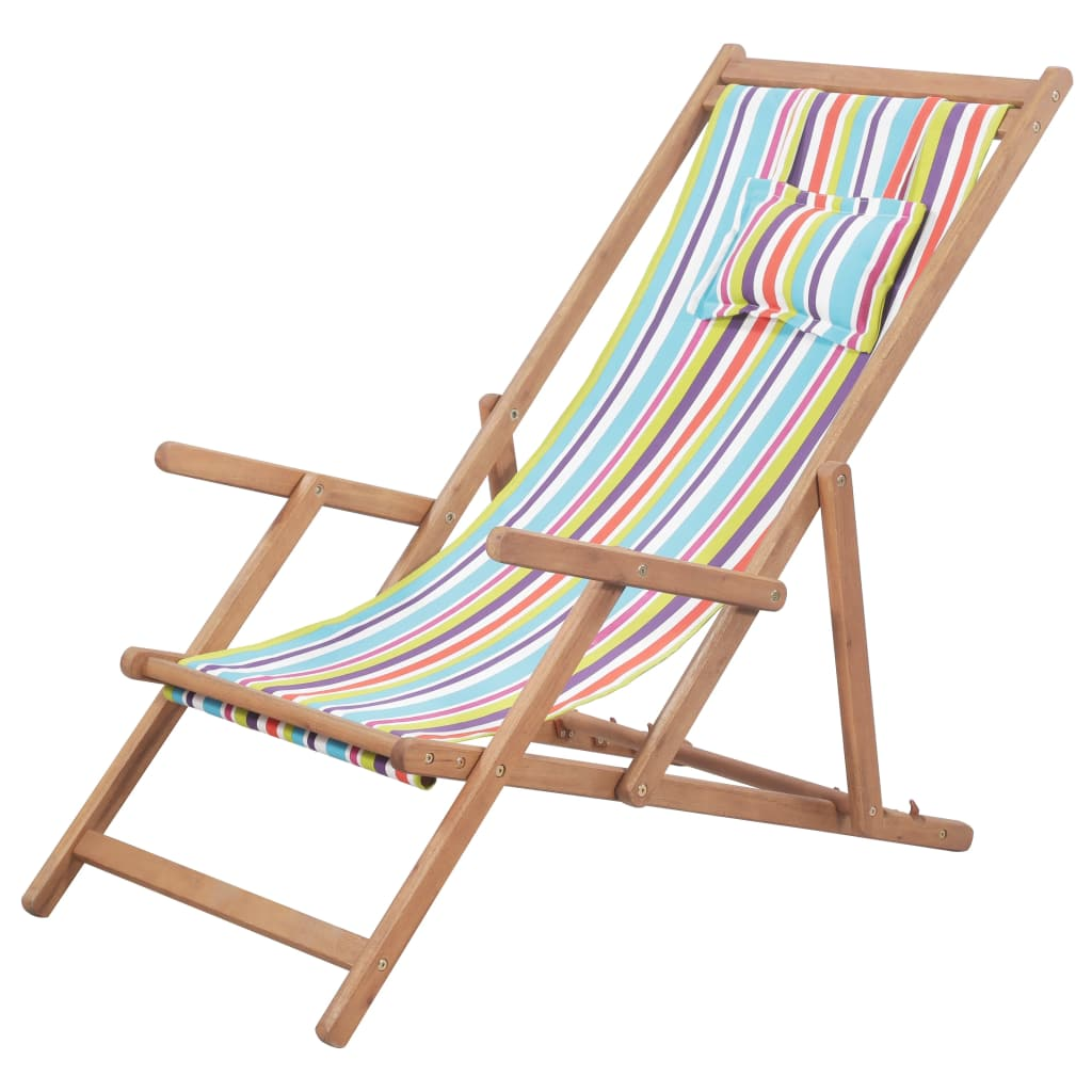 Folding Beach Chair Fabric and Wooden Frame Multicolour 1