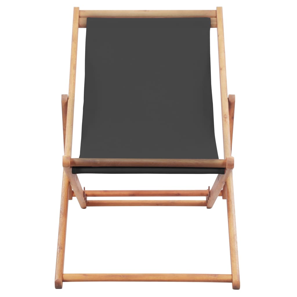 Folding Beach Chair Fabric and Wooden Frame Grey 2