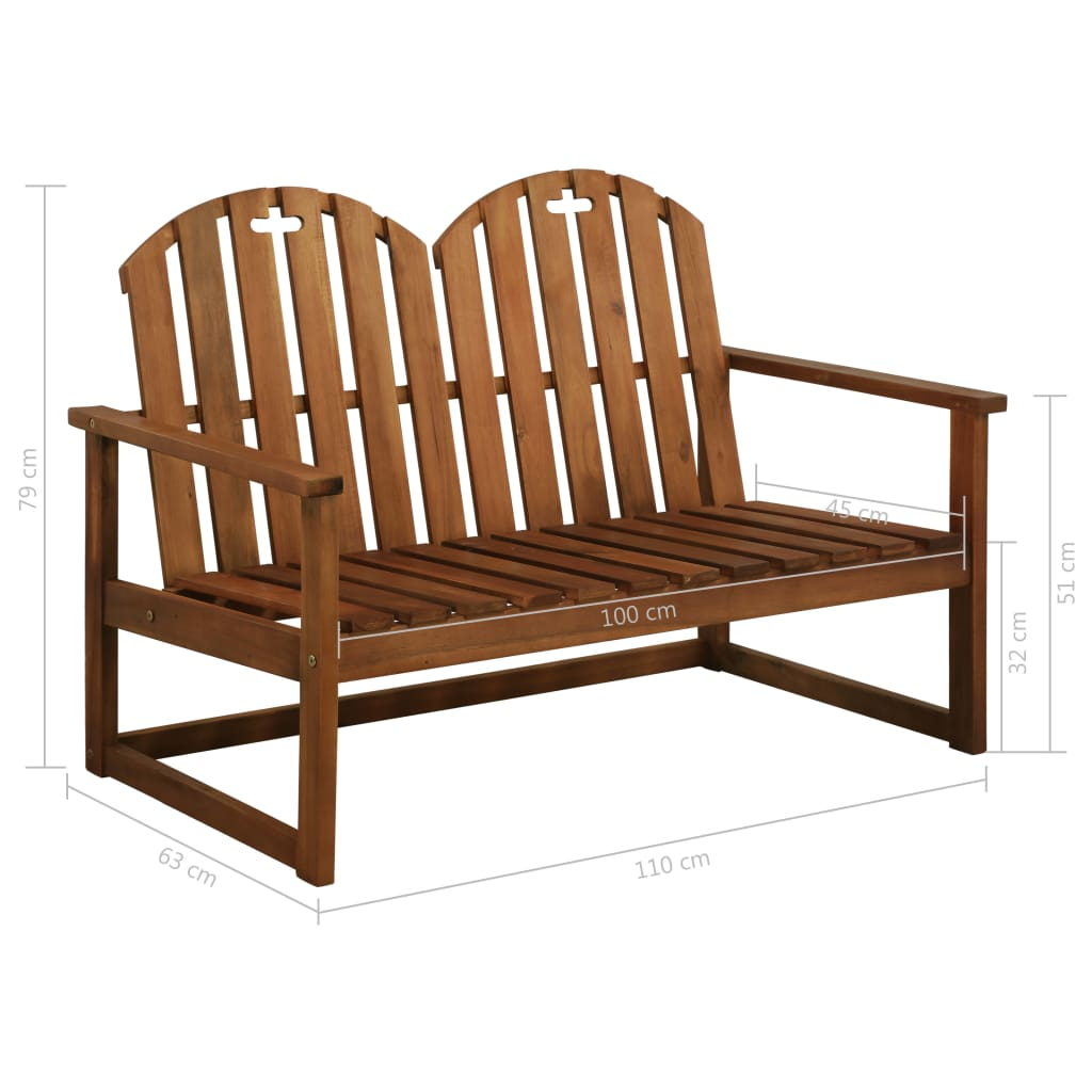 Garden Bench 110 cm Solid Acacia Wood 6
